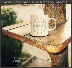 White Coffee Mug on Wooden Table Outdoor by TanyDiDesignStudio