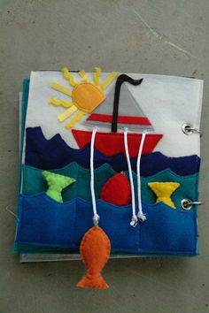 Fishing Quiet Book Page by BobalinaCreations on Etsy Diy Quiet Books, Baby Quiet Book, Felt Books, Quiet Book Templates, Quiet Book Patterns, Silent Book, Fidget Blankets, Fidget Quilt, Book Quilt
