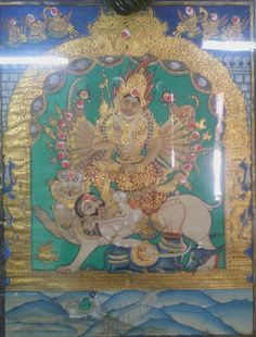 Sri Chamundeshwari killing demon king Mahishasura. Mysore painting Mysore Painting, Tanjore Painting, Traditional Paintings, Traditional Art, Durga Goddess, Durga Maa, Hindu Art, Buddhist Art, Indian Paintings
