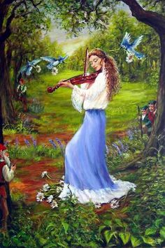 """""""The wee folks come running when they hear the sound of the magic fiddle. Inspired by Celtic music in Spring """""""