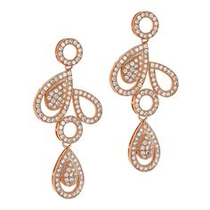 Dizeo 18K Rose Gold over Sterling Silver with Simulated White Diamond Teardrop and Circle Dangle Earrings