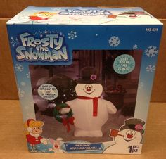 Frosty The Snowman w/ Wreath Gemmy Christmas Airblown Inflatable LED Yard Prop