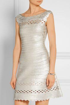 Hervé Léger | Dominica cutout metallic bandange mini dress | NET-A-PORTER.COM