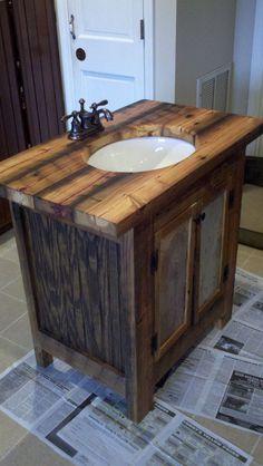 Rustic Bathroom Vanity barn wood pine undermount sink. via Etsy.