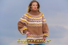 Icelandic brown hand knitted mohair sweater by by supertanya