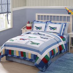 Kids Bedding Boys Twin Size Fly Away Airplane Cotton 3-piece Quilt Set Teen/Chil