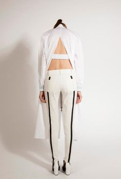 Low Waist White Denim with Black Leather Patchwork