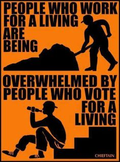Working for a living or welfare voting.