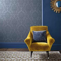 Perfect for creating cool yet elegant interiors Reign Blue from Zoffany Paint offers the perfect backdrop for statement furniture pieces in vibrant colours. Zoffany Wallpaper, Damask Wallpaper, Home Wallpaper, Wallpaper Designs, Living Room Seating, Formal Living Rooms, Made To Measure Curtains, Interior Concept, Contemporary Classic