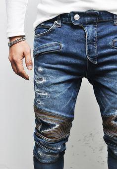 Power VTG Hipster's Slim Damage Seaming Biker-Jeans