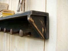 rustic shelf & railroad spike hooks