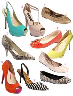SHOES for the season - 3 key trends - metallic, pop of color, neutrals.