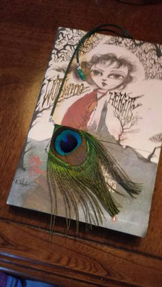 bookmark peacock feather satin string on large 3 by GiftsByAnne