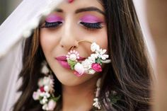 Trendy ideas for indian bridal nose ring eye makeup Indian Wedding Jewelry, Indian Jewelry, Indian Weddings, Ethnic Jewelry, Flower Jewellery For Mehndi, Flower Jewelry, Mehndi Flower, Indian Headpiece, Bridal Nose Ring