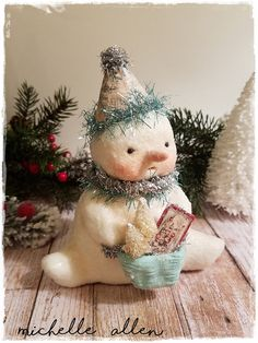 Folk Art paper Clay Christmas holiday SNOWMAN with clay bucket w bottle brush tree handmade by Michelle Allen / Raggedy Pants Designs