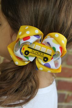 School Bus Bow  Back to School Bow  School by DarlingLittleBowShop, $10.95 #back2school