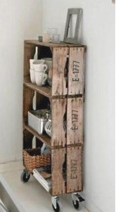 Crate shelves on wheels! Great idea!