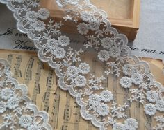 Cotton Lace Trim Ecru Embroidered Lace Trim  Bridal by lacetime