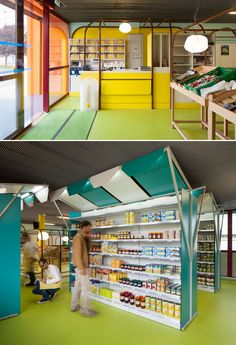 Mini M grocery shop by Matali Crasset & Praline, Toulouse – France. Supermarket Design, Retail Store Design, Retail Shop, Commercial Design, Commercial Interiors, Stand Feria, Design Art Nouveau, Retail Concepts, D House