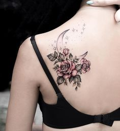 Feed Your Ink Addiction With 50 Of The Most Beautiful Rose Tattoo Designs For Men And Women- awesome roses & crescent moon tattoo © tattoo artist S T E L L A · T A T T O O Stella Luø Tattoos Colorful Flower Tattoo, Beautiful Flower Tattoos, Flower Tattoo Designs, Tattoo Designs For Women, Beautiful Flowers, Unique Women Tattoos, Tattoo Women, Tattoos With Flowers, Black Flower Tattoos