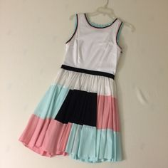 """ASOS Color Block Skater-Skirt Dress Worn once, in great condition. 100% cotton dress. Perfect for graduation. Size 6. Zips up side with hook and eye closure. Approximately 35"""" from shoulder to hem ASOS Dresses"""