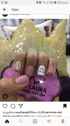 Dream Nails, Love Nails, Pretty Nails, Manicure And Pedicure, Gel Nails, Unicorn Nails Designs, Nail Art For Kids, Minimalist Nails, Fancy Nails