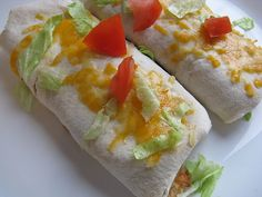 Easy Cheese and Bean Burritos - Calories-148 Fat-3g Carbs -21 Dietary Fiber-10g Protein 9g