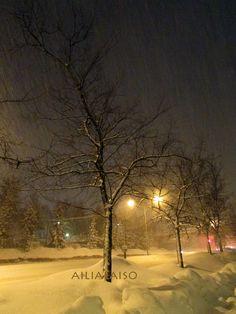 Winter evening in Myyrmäki (near Helsinki ) Finland