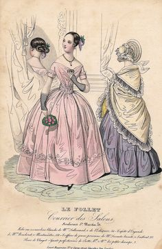 """Le Follet Fashion Plate - 1850 - """"""""PINK & PURPLE DRESSES"""""""" - H-C Lithograph"""