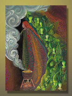 Witch's Brew - Pagan Goddess Art 5x7 Blank Greeting Card. $5.00, via Etsy.