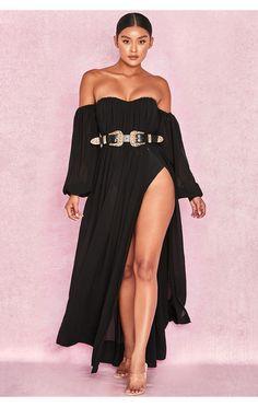 129f9e2f0b3 Clothing   Max Dresses    Marlena  Black Chiffon Bardot Maxi Dress