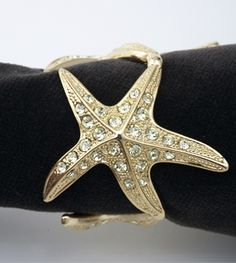 L'Objet decorative accessories tableware napkin ring starfish gold yellow crystals harlequin london