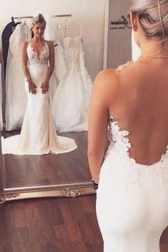 Wedding Dresses White, Mermaid Wedding Dresses, Open Back Wedding Dresses, Wedding Dresses With Appliques, Wedding Dresses 2018, Sleeveless Wedding Dresses #WeddingDressesWhite #MermaidWeddingDresses #OpenBackWeddingDresses #WeddingDressesWithAppliques #WeddingDresses2018 #SleevelessWeddingDresses