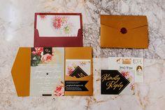 Gold Foil & Floral Vintage Wedding Invitations   The City Hippy Studio