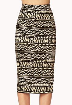 Chic Tribal Print Midi Skirt | FOREVER21 - 2002245971