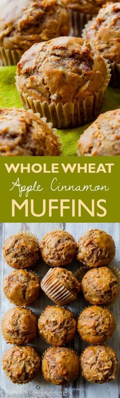 Hearty, healthy, and satisfying 180 calorie whole wheat muffins filled with sweet apples and plenty of cinnamon spice!