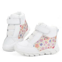Sunny&Baby Girls Sport Shoes Toddler Sneakers Side Flowers Pattern Warm Winter High Top Boot for Kids Abrasion Resistant (Color : White, Size : 7.5 Mus Toddler). GREAT MATERIAL: Leather+pig split insole+TPR outsole, your kids might feel love walking with such a perfect partner material. EASY WEARING: hook & loop strap,dress it up within seconds;. PLEASE CHECK SIZE ON THE FOLLOWING DESCRIPTION OR PRODUCT IMAGE .
