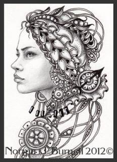 Arte original ACEO Tarjeta Sketch futuristas Steampunk duende de hadas Hadas