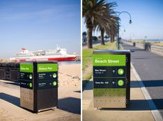 Port Melbourne.    *wayfinding on trashcan, to suit the visual height :)