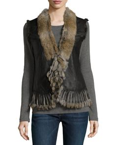 Leather Rabbit-Fur Vest, Natural by Love Token at Neiman Marcus Last Call.
