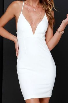 White Spaghetti Strap Deep V Neck Dress
