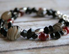 Witchy Twilight-Two Strand Beaded Bracelet. Black Jewelry. Black Beaded Bracelet. Beaded Bracelet. Silver Jewelry. Red Bracelet. Red Jewelry - Edit Listing - Etsy