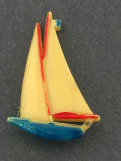 1930-1940's Vintage celluloid sail boat brooch