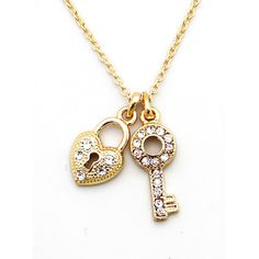 'Pave Lock and Key' Necklace