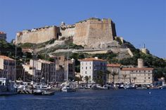 View from the port area of Bonifacio to the citadel of Haut-Ville, Corsica