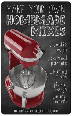 Creative Halloween Costumes - The Best Way To Be Artistic Over A Budget Did You Know You Can Save At Least 100 Per Year By Making Your Own Homemade Mixes? Here Are Some Tips And Tricks My Favorite Homemade Mix Recipes Kitchen Aid Recipes, Kitchen Aid Mixer, Kitchen Aide, Kitchen Tools, Kitchen Gadgets, Freezer Cooking, Cooking Tips, Cooking Recipes, Budget Recipes