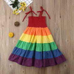 Baby Girl Rainbow Dress 2019 New Fashion Sleeveless Long Dress Frocks For Girls, Little Girl Dresses, Baby Girl Dresses Diy, Little Girl Summer Dresses, Girls Dresses, Dress Summer, Newborn Fashion, Baby Girl Dress Patterns, Kids Frocks Design