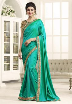 8fadfe9098 Art Silk Saree with Embroidered Blouse in Teal Green Bollywood Fashion,  Bollywood Theme, Bollywood