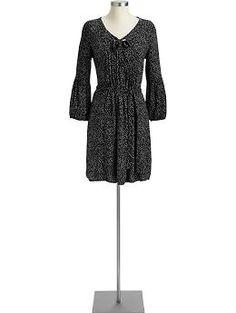 Old Navy Belted Tie-Front Dress (black print)