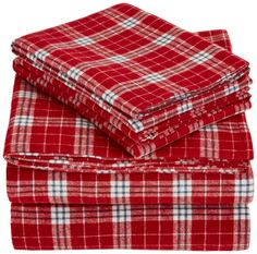 Amazon.com - AmazonBasics Yarn-Dyed Lightweight Flannel Sheet Set - Full, Bordeaux Plaid -